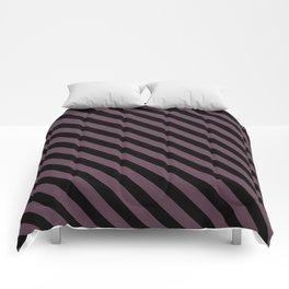 Eggplant Violet and Black Diagonal LTR Stripes Comforters