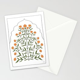 Indian Mughal Flower Motif Illustration - Marigold Stationery Cards