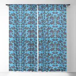 Blue Shades Animal Print Sheer Curtain