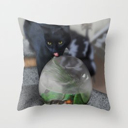 Black Kitty Cat with Fish in Fishbowl Throw Pillow