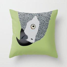 African Grey Parrot [ON MOSS GREEN] Throw Pillow