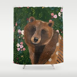 Bear with Flowers Shower Curtain