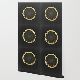 Metallic Gold Tree Ring on Black Wallpaper