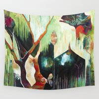 "flora bowley Wall Tapestries featuring ""Temple Lilies"" Original Painting by Flora Bowley by Flora Bowley"