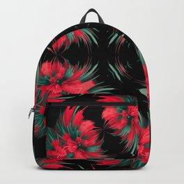 modern red black flower mandala Backpack