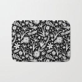 brushy black and white floral Bath Mat