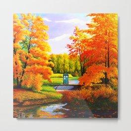 Tardis Art Bridge Forest Autumn Metal Print