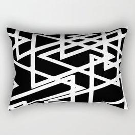 Interlocking White Triangles Artistic Design Rectangular Pillow