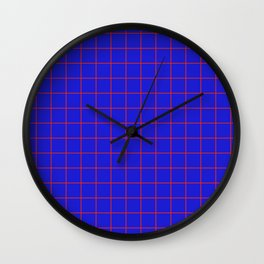 Blue and Red Grid Wall Clock