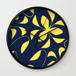 Leafy Vines Yellow and Navy Blue Wall Clock