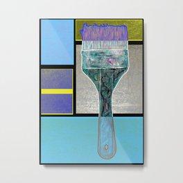 Artist Brush On Geometric Pattern Metal Print