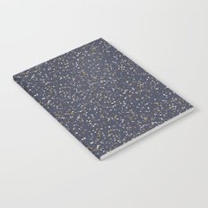 Speckles I: Dark Gold & Snow on Blue Vortex Notebook