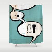comic book Shower Curtains featuring Comic Book: !!! by Ed Pires