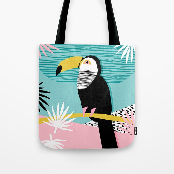 Loopy - wacka designs abstract bird toucan tropical memphis throwback retro neon 1980s style pop art Tote Bag