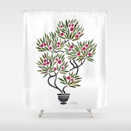 Bonsai Fruit Tree – Sage & Burgundy Palette Shower Curtain