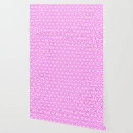 Girly Pink Geometric Flowers and Florals Isosceles Triangle Wallpaper