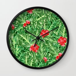 Holly Jolly Christmas Leaves & Berries (Large Pattern) Wall Clock