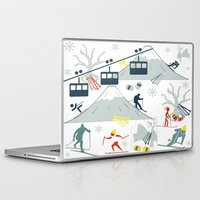ski Laptop & iPad Skins featuring SKI LIFTS by BLUE VELVET DESIGNS