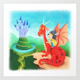 The Girl and The Dragon Art Print