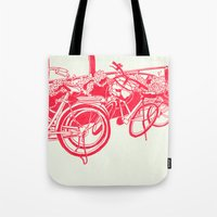bicycles Tote Bags featuring On Paper: Tokyo Bicycles by Anton Marrast