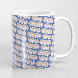 New Jersey, USA Trendy Rainbow Text Pattern (Blue) Coffee Mug