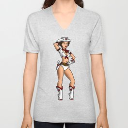 Cowgirl Pin-up Unisex V-Neck