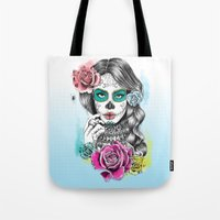 aaliyah Tote Bags featuring Aaliyah - Day of the Dead by DejaLiyah