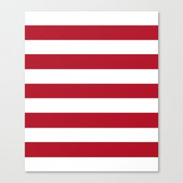 Wine red - solid color - white stripes pattern Canvas Print