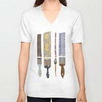 david V-neck T-shirts featuring color your life by Bianca Green