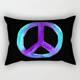 Turquoise Purple Peace Black Tiedye Rectangular Pillow