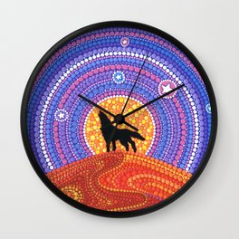 Night of the Wandering Wolf Wall Clock