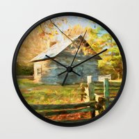 cabin Wall Clocks featuring Pucketts Cabin by ThePhotoGuyDarren