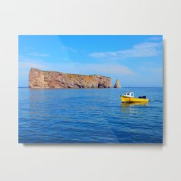 The Rock and the Yellow Boat Metal Print