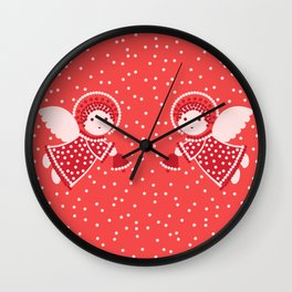 Angels on the red Wall Clock