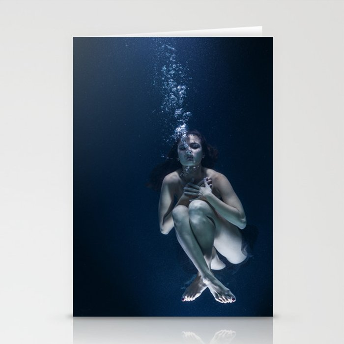 Woman Underwater Stationery Cards