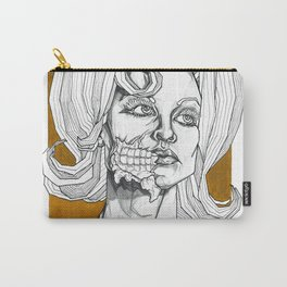 Geometric Black and Gold Linear Alien Carry-All Pouch