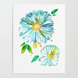Lakeside Watercolour Blue Daisies Poster