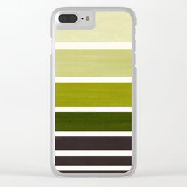 Olive Green Minimalist Watercolor Mid Century Staggered Stripes Rothko Color Block Geometric Art Clear iPhone Case