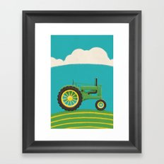 Old Green Tractor Framed Art Print