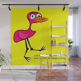 Pink Bird Not Perfect Wall Mural