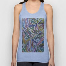 Abstract Flowers Watercolor Painting Unisex Tank Top