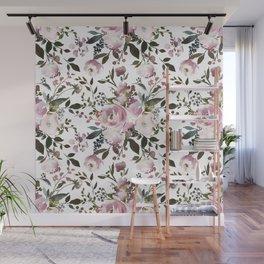 Blush rose pink green watercolor elegant floral Wall Mural