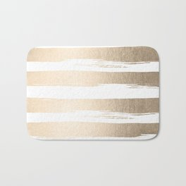 White Gold Sands Painted Thick Stripes Bath Mat