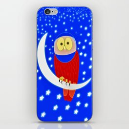 Owl lands on the moon iPhone Skin