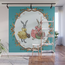 Dressed Easter bunnies 2a Wall Mural