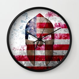Molon Labe - Spartan Helmet Across An American Flag On Distressed Metal Sheet Wall Clock