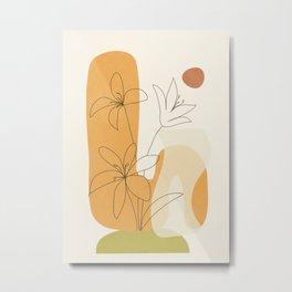 Minimal Abstract Flowers 02 Metal Print