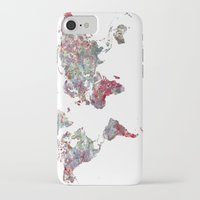 map iPhone & iPod Cases featuring World Map  by MapMapMaps.Watercolors