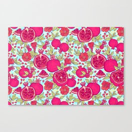 Pattern with pomegranates. Decorative patterns of the garnet fruit on white background . Canvas Print