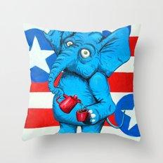 Judi's Coffee Drinking Elephant Throw Pillow